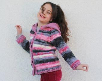 Kids Cardigan, Girls Cardigan, Warm and Cute Cardigan for Girls, Crochet Cardigan for Girls, Knitted Cardigan for Girls, Cardigan with Hood