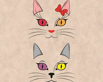 2 Cat Faces svg, Cat Clipart, Cat Silhouette, Cat vector, Cute Cat Face svg, Wildlife, Cute Cat svg, Cat head, Animal svg, Cat Cutting file