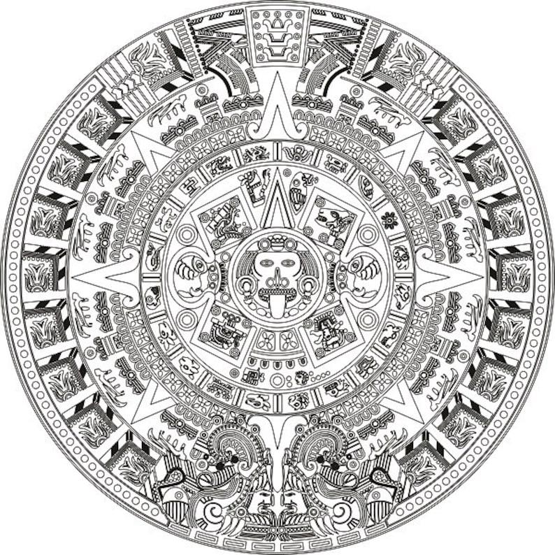 Calendario Azteca Vectores.Piedra Del Sol Azteca Instantanea Descargar Calendario Imprimible Tamano Variable Dxf Eps Svg Archivo