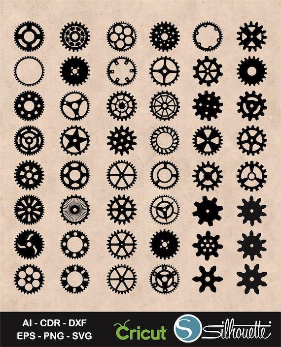 gears svg cogs gears svg gear silhouette steampunk gear etsy