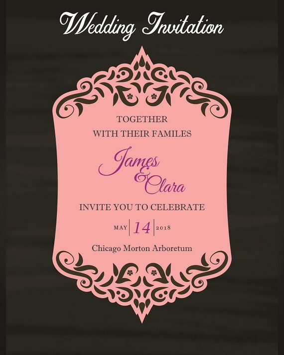 Vector Wedding Invitation Card Template Laser Cut File Silhouette Cameo Cricut Birthdays Showers Card Making