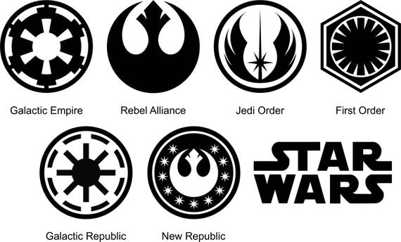Star Wars Symbols Silhouette And Stencil Outline Logo Digital Etsy