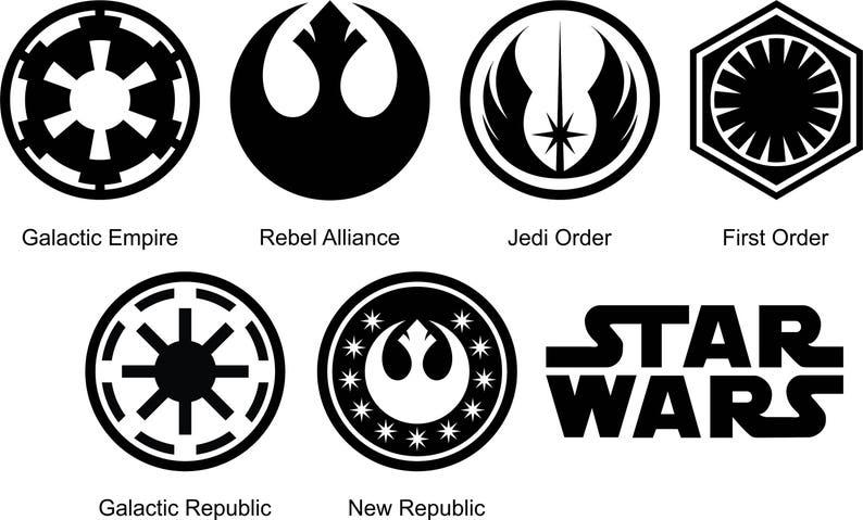 Star Wars Symbole Silhouette Und Schablone Umriss Logo Etsy