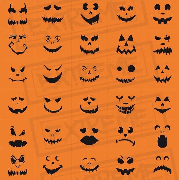 30 Halloween Kürbis Gesicht Schablonen Kürbis Schnitzen Etsy