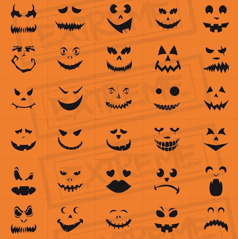 30 halloween k rbis gesicht schablonen k rbis schnitzen etsy. Black Bedroom Furniture Sets. Home Design Ideas