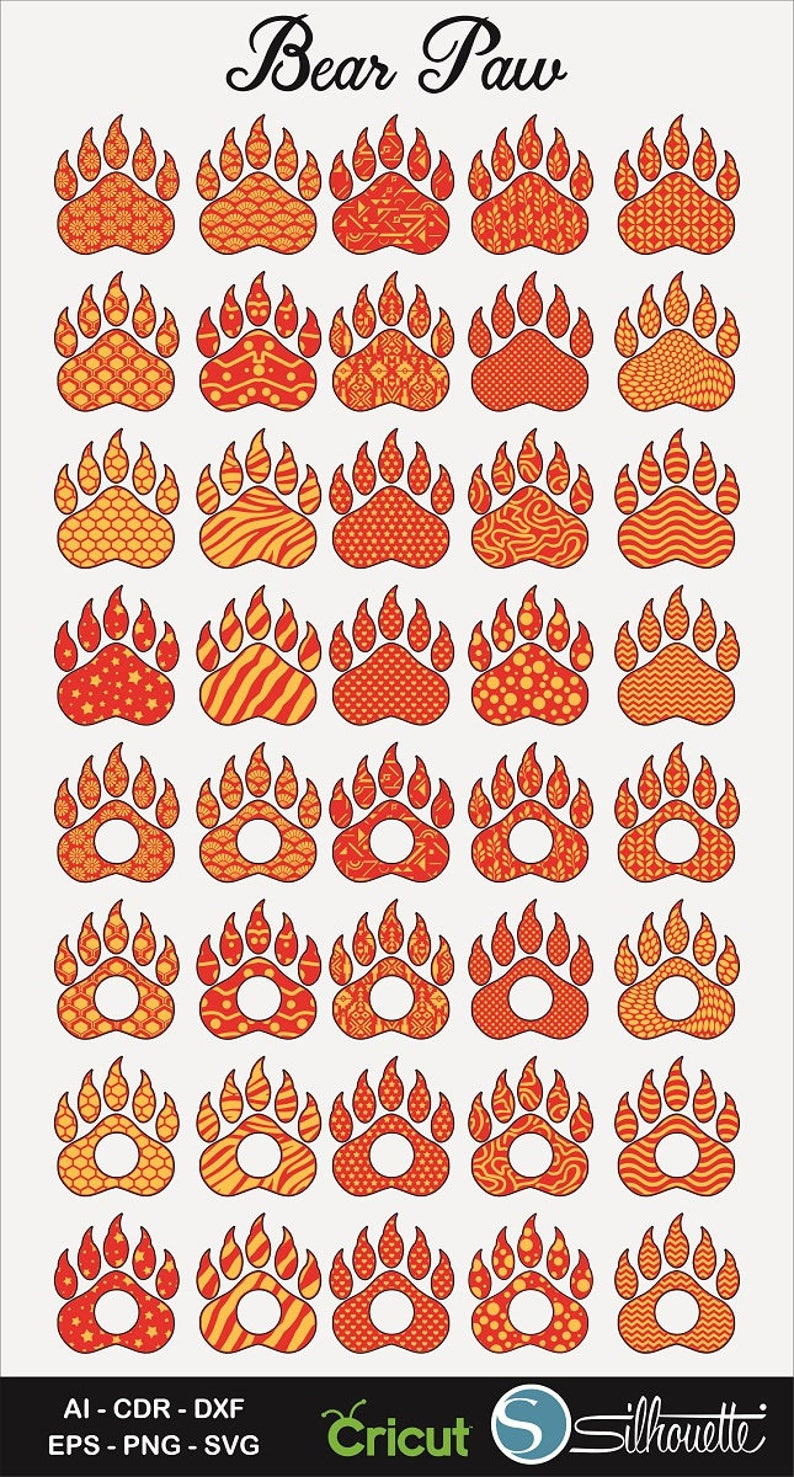 40 Bear Paw Prints and Monogram, AI, CDR, SVG, Dxf, Eps, Svg, Bear Paw svg,  Bear Paw Clipart, Cricut, Silhouette, Bear Paw Vector,