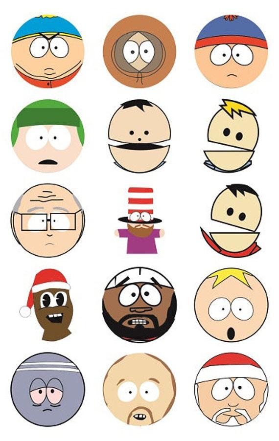 south park characters digital download 1 inch circles etsy