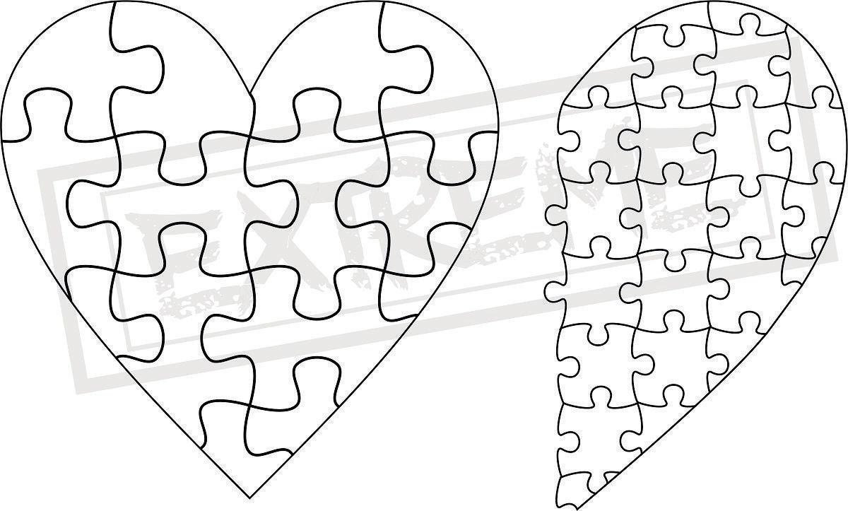 Herz Puzzle Puzzle Vorlage Sammlung DXF EPS SVG Zip-Datei | Etsy