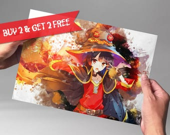 Megumin Konosuba Print Anime Watercolor Art Print Poster Anime Watercolor Art Print Poster Anime Poster Watercolor Wall Art n201