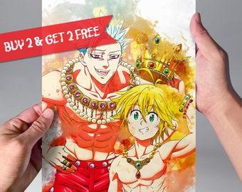 Meliodas And Ban Print The Seven Deadly Sins Poster Nanatsu No Taizai Watercolor Art Anime Wall N190