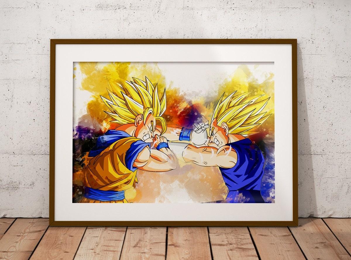 Goku and Vegeta Art Print Watercolor Poster Anime Watercolor | Etsy
