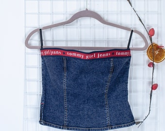 b481dd519b1e06 Vintage Tommy Hilfiger Crop Top - Tube Top - Tommy Girl- Denim Blouse -  Womens Size S Small