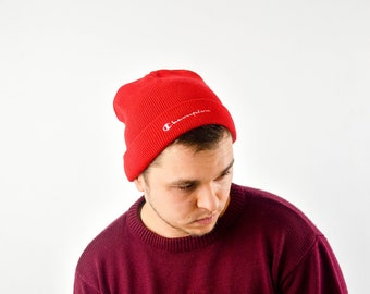 new styles 95154 3c2fd Vintage Champion Red Beanie Cap With Large Logo One Size