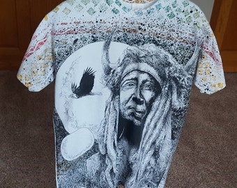 Vintage 80s / 90s Native American All Over Print T Shirt