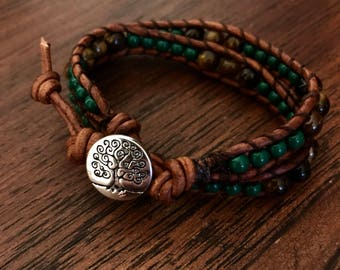Double Leather Tree of Life Wrap