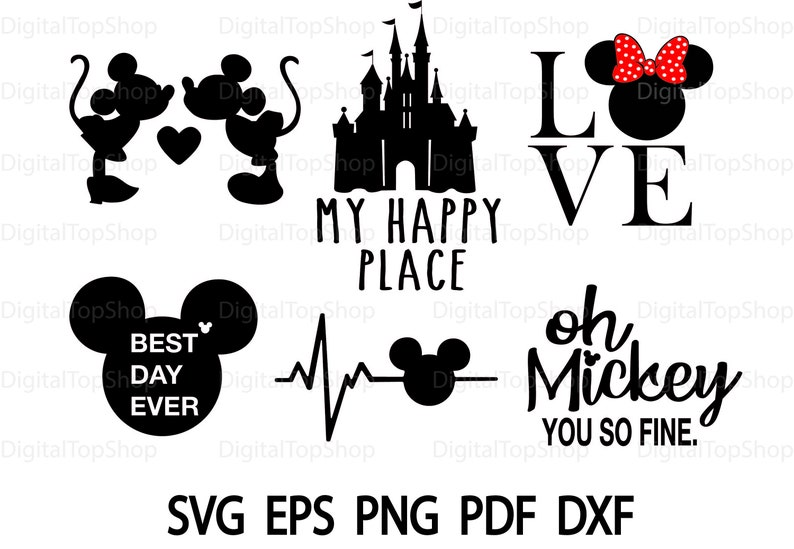 Disney World SVG Bundle Disney SVG Bundle Disney Cut file Disney Clipart  Svg Files For Silhouette Files For Cricut Svg Dxf Eps Png Love Svg