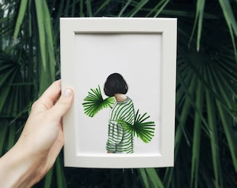 Vegetable lines - Art drawing portrait print illustration