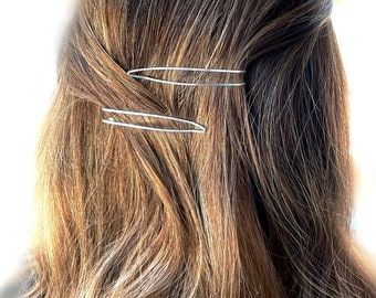 2.5 inches Silver Bobby Pins for Gray Hair Styling Metal Hair Clips Women Girls