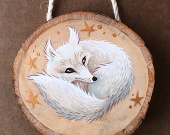 Hand Painted Arctic Fox on Wooden Round