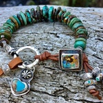 Artisan Handmade Turquoise Bracelet, genuine Hubei turquoise beads, boulder opal bracelet button, Kingman turquoise heat, earthy and chunky
