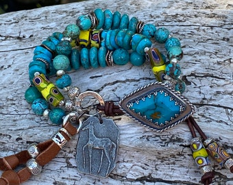 Made in USA, Adjustable Necklace Bee and Trade Bead Necklace Free Shipping USA Boho Beaded Necklace on Leather