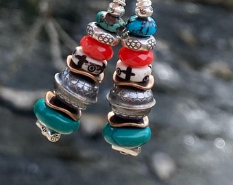 Stretch bracelet Recycled glass Earrings with sterling French ear wires Mediterranean blue and foam green nugget beads.
