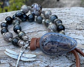 Art Glass Bracelet, Pyrite in Magnetite, Chrysoberyl Cat Eye, Amethyst Sage Agate button, dragonfly charm, dark moody boho bracelet