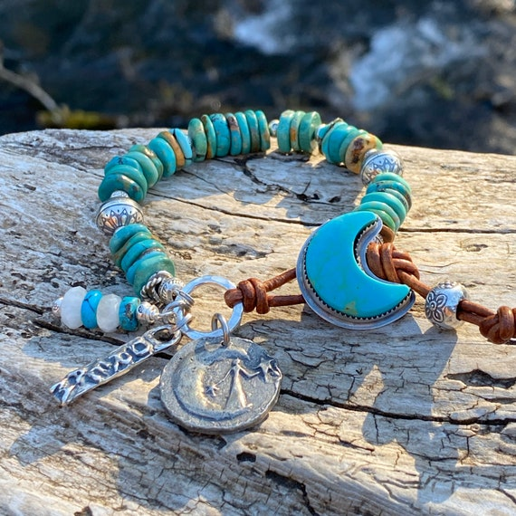 Genuine Turquoise Bracelet, western boho bracelet, Baja turquoise moon button, rustic earthy turquoise, moon Goddess charm, dream charm