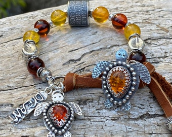 Baltic Amber Boho Bracelet, Natural Amber turtle button and matching charm, Anne Choi bracelet, fine silver beads, amber sea turtle bracelet