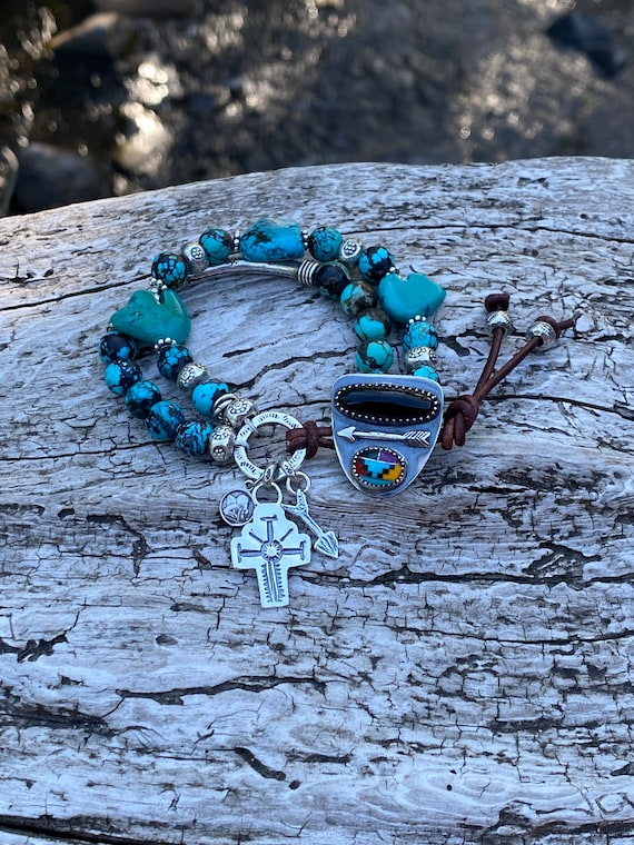 Genuine Turquoise Bracelet, Zuni Fetish Bears Bracelet, turquoise inlaid 925 silver button clasp, Spider Web Hubei turquoise, cross charm