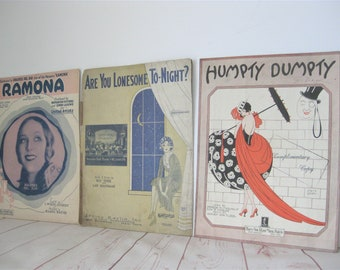 Vintage Sheet Music Lot Of 3 Early Century Songs Paper Ramona Are You Lonesome Tonight Humpty Dumpty For PLaying Music Or Framed Wall Decor