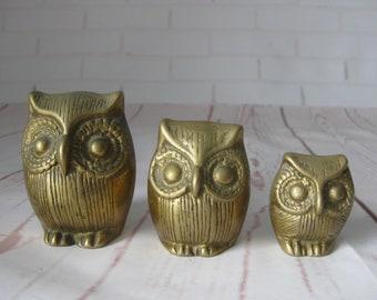 Vintage Solid Brass Owl Figurines Set Of 3 Different Sizes Owls Bird Figurine Lot Bookshelf Decor Paper Weight Mantle Decorative 0.8 lbs