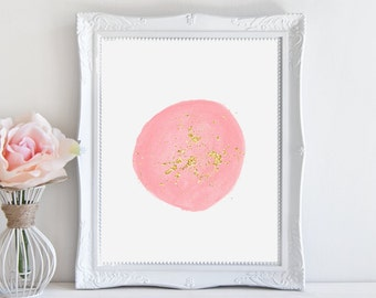 Watercolor Print - Pink with Gold Foil Glitter Download Art Print