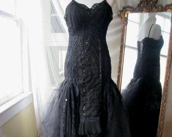 Midnight Black Boho Wedding Dress,  Black Gothicl Gown, Black Lace Wedding Dress,  Hi Low Wedding,Steampunk Bridal, Performance  Dress, OOAK