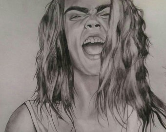 Illustration Cara Delevingne being weird