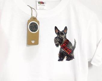Scottie dog tshirt, cute Scottie gifts, Scottish terrier print, tartan Scottie tshirt, pocket dog tee, Scottie dog gifts, quirky dog tee,