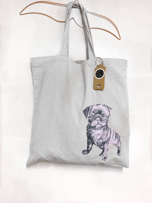 Pug Dog Tote Shoulder Bag Beige Hand Printed
