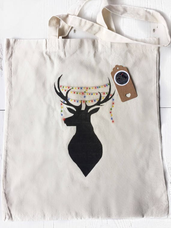 Reindeer Christmas PERSONALISED GIFT BAG SHOPPING XMAS Rudolph Gift Present
