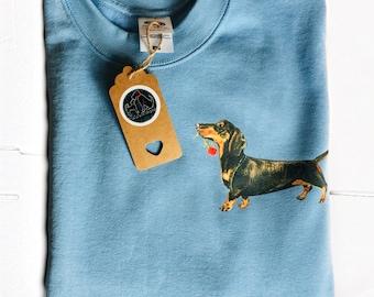 Dachshund pastel jumper, dachshund sweatshirt, cute sausage dog gift, dog print jumper, cute sausage dog print, colourful dachshund gift