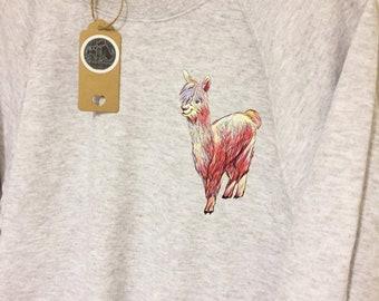 Colourful alpaca jumper, alpaca gifts, watercolour alpaca print, alpaca lover, alpaca gift for her, alpaca gifts for her, animal gifts, alpa
