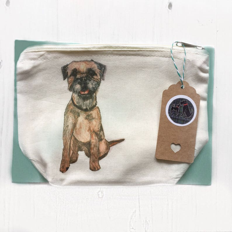435c36b373d6 Border terrier makeup bag, dog cosmetic pouch, accessories holder, gifts  for her, birthday gifts, christmas gifts, dog lover, puppy print