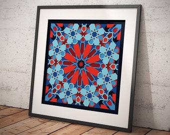 INSTANT DOWNLOAD, Moroccan Geometric Design, Digital Art, Sacred Geometry, Printable Wall Art, Digital Download, Modern Design, Home Decor