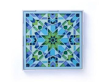 PaperCut Art Sacred Geometry Mandala, 3D Paper Cutting, Arabic Design Papercraft Laser Cut Wall Decor Paper Sculpture Moroccan Wall Hanging