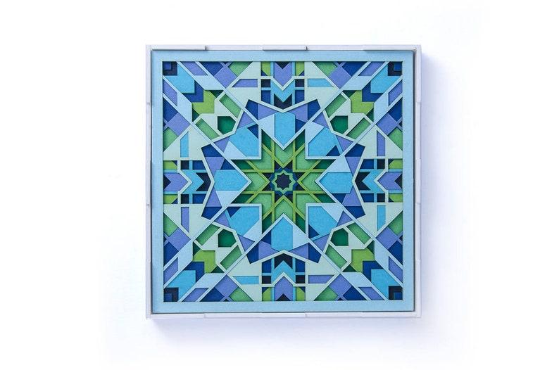Layered Paper Cut Art Deco Wall Artwork  Delicate Original Handcut Paper Art  Morocco Geometry Paper Sculpture  Laser Cut Modern Mandala