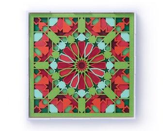 Papercut Moroccan Wall Art Laser Cut 3D Paper Art, Paper Sculpture Wall Decor, Paper Cut Mandala Arabic Geometry Sacred Design Made in India