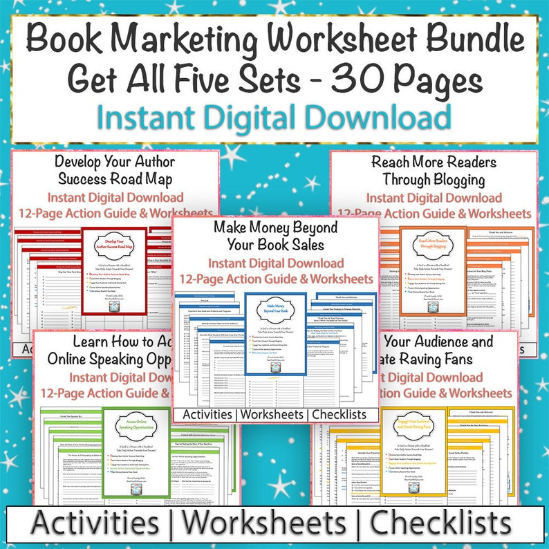 Mini Course: Book Marketing Bundle PDF - Sets 1 through 5 - Take-Action  Worksheets and Checklists - Digital Downloand - Instant Access