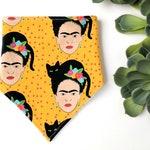 Frida Kahlo Bib, yellow baby Bib, bright yellow dribble bib.