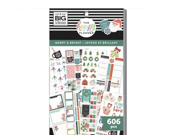 MAMBI Create 365 The Happy Planner 606 pc Sticker Book - Merry & Bright - Holiday Stickers, Christmas Sticker Book