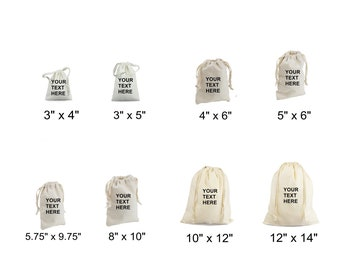 Customizable Reusable Natural Cotton Drawstring Pouches - Dust Covers Bag for Storage (8 SIZES)
