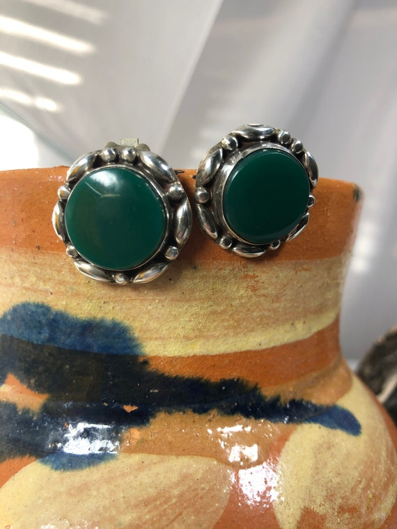 Vintage Sterling Silver with Green Stone Clip-On E